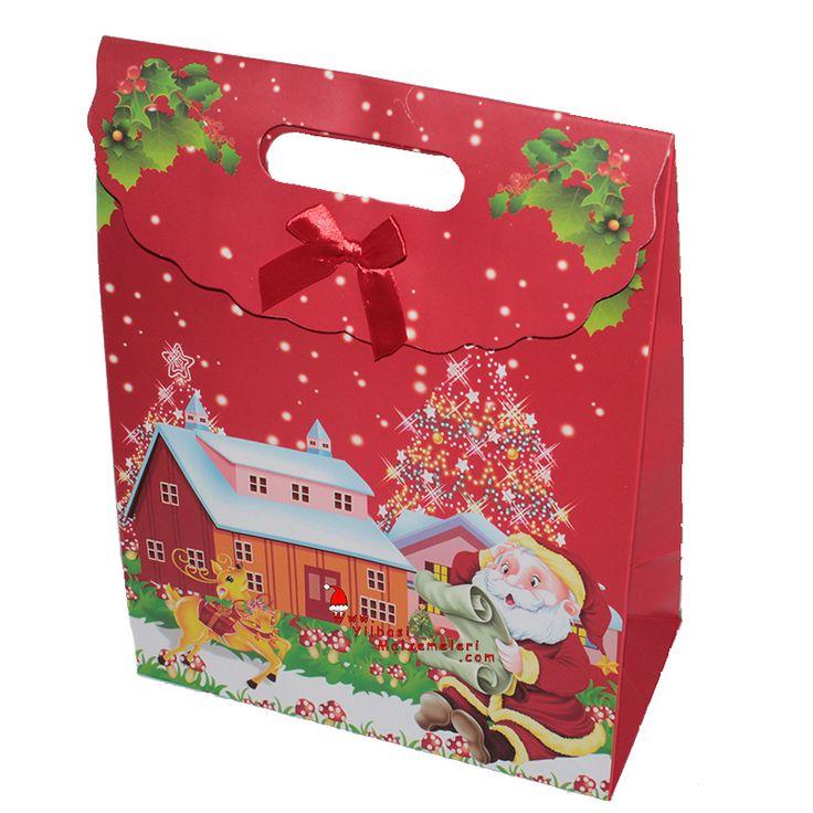 Küçük Boy Noel Babalı Yeniyıl Hediye Dağıtma Çantası | Yılbaşı Kutu ve Çantaları | Pandoli | Parti Malzemeleri ve Doğum Günü Süsleri Partidolu.com