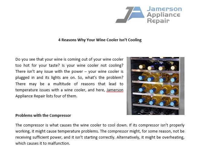 Why Your Wine Fridge Isn T Cooling Properly Southport Nc Wine Cooler Wine Fridge Appliance Repair