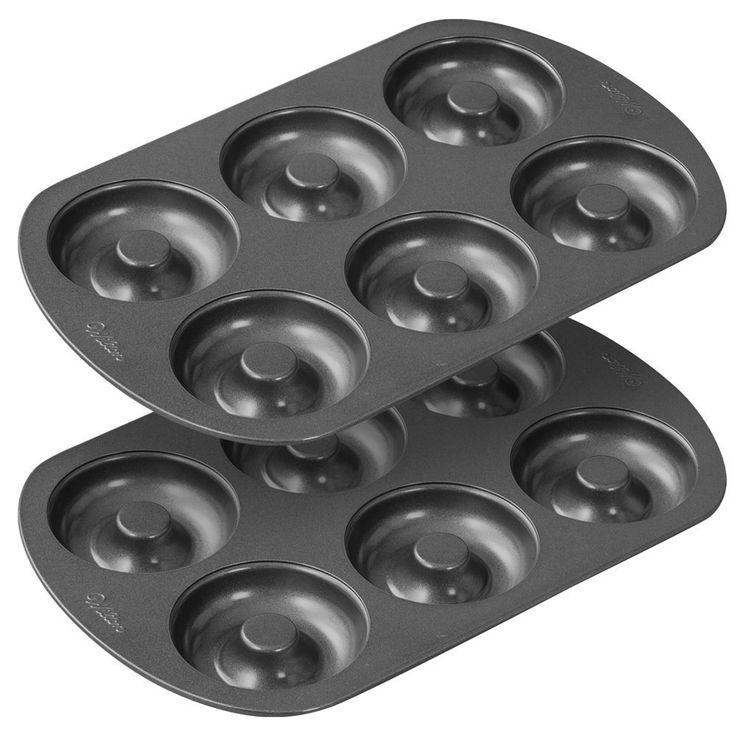 New 2 piece 6 non stick steel cavity donut baking cake pan