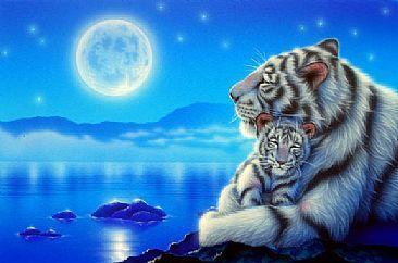 pinterest tiger white art 3d | White tiger - Painting - Nature Art by Kentaro Nishino