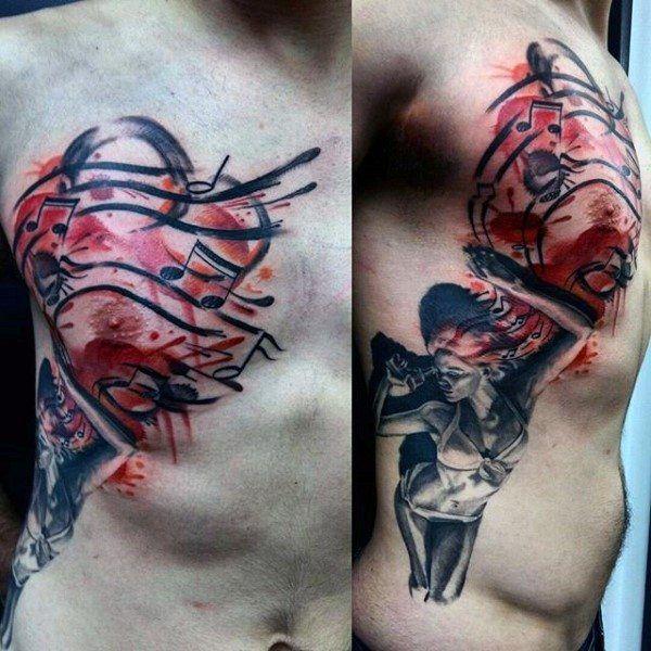 Creative Music Hinweis Mens Female Aquarell Red Ink Tattoo auf Brustkorb Side