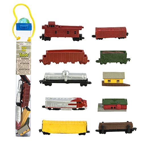 Safari Ltd Trains TOOB With 11 Connectable Hand Painted Figurines, Including Freight Station, Cargo Car, Log Car, Coal Car, Fuel Car, Coal, Train Engine, Passenger Station, Caboose, Cargo Car and Dump Car:   Train lovers will spend hours with our colorful Train TOOB, which comes with 11 connectable train figurines, including a freight station cargo car, log car, coal car, fuel car, coal, train engine, passenger station, caboose, cargo car and dump car. All these cars pack neatly into a...