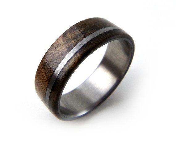 TItanium Wood Ring Walnut Burl Ring Brown Wood by GrandJunctionGuy