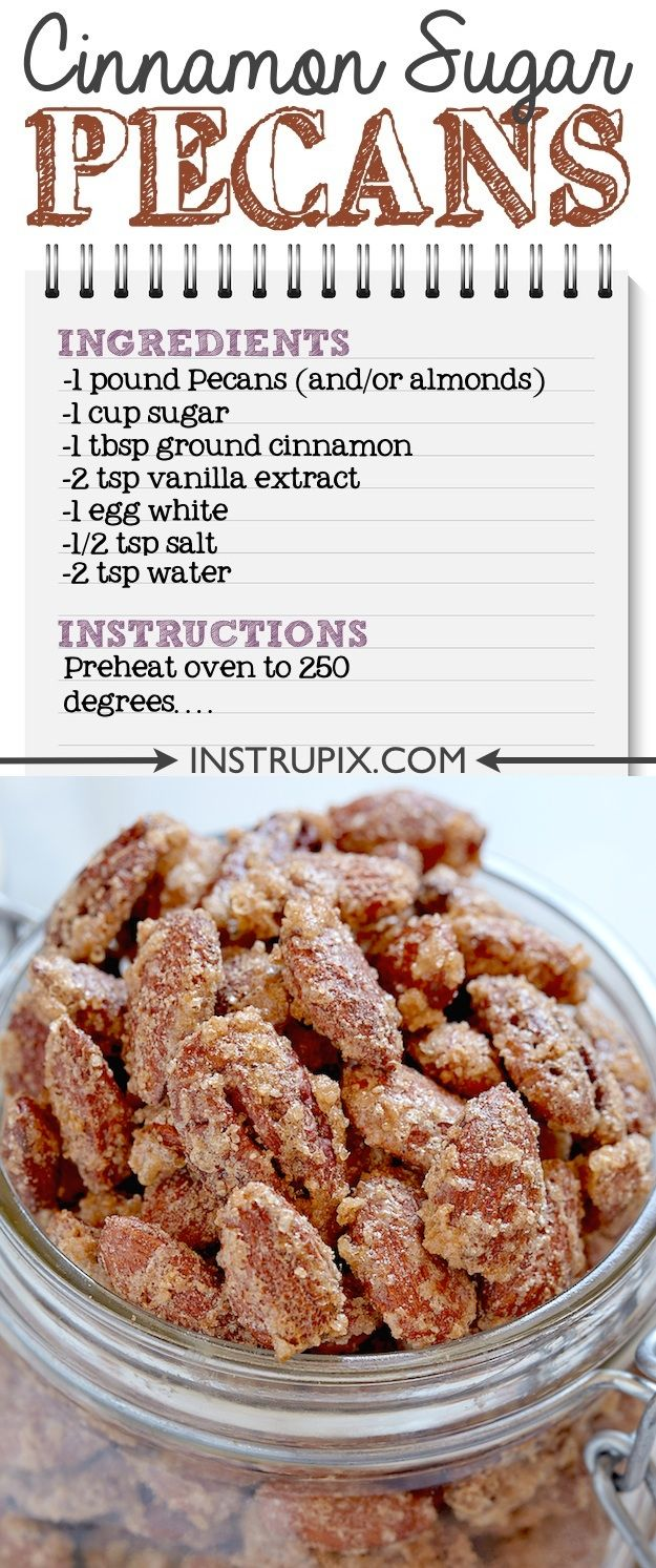 If you like candied nuts as much as I do, you are going to love this easy cinnamon sugar pecan recipe! It's the perfect party appetizer because you don't have to worry about them getting too hot or too cold while sitting out. I make these every Christmas!! Instrupix