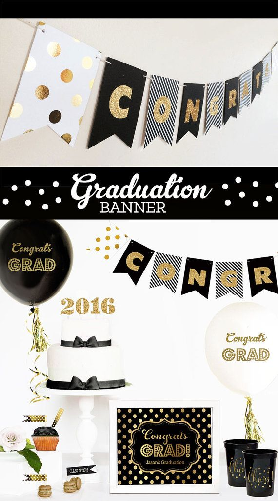 Congrats Banner for a graduation party personalized with Congrats or the graduates name are great for a black and gold graduation party decor - Custom