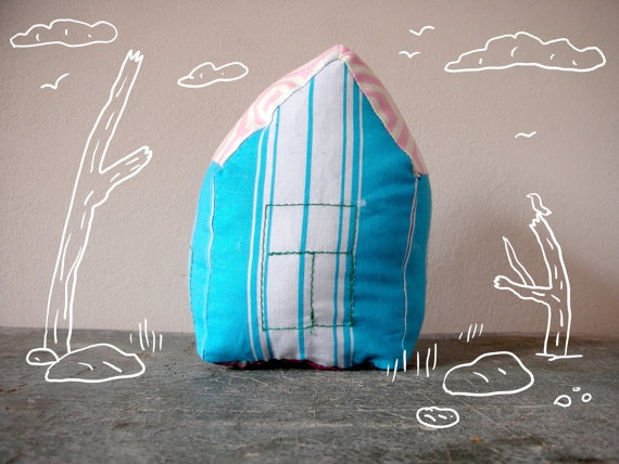 Pillow Toy Houses  Striped One by ConstructiveLaziness on Etsy, €13.00