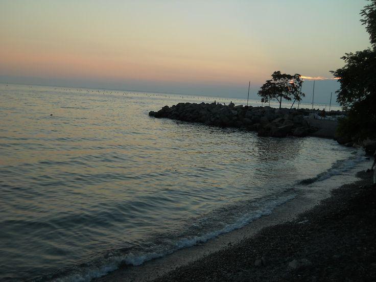 Summer sunset on the beach near Trieste