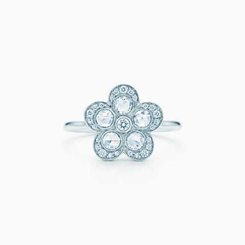 Tiffany Enchant® flower ring in platinum with diamonds.