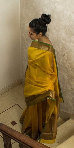 Mustard Yellow Handwoven Cotton Silk Saree