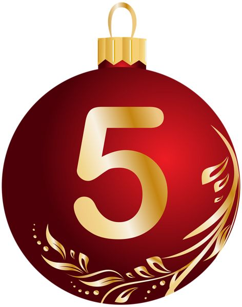 Christmas Ball Number Five Transparent PNG Clip Art Image