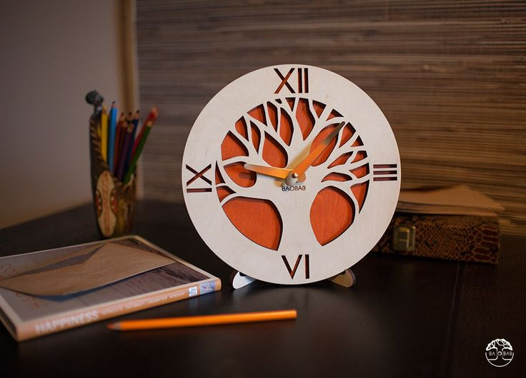"Wooden table clock "" African Tree"" by BAOBAB"