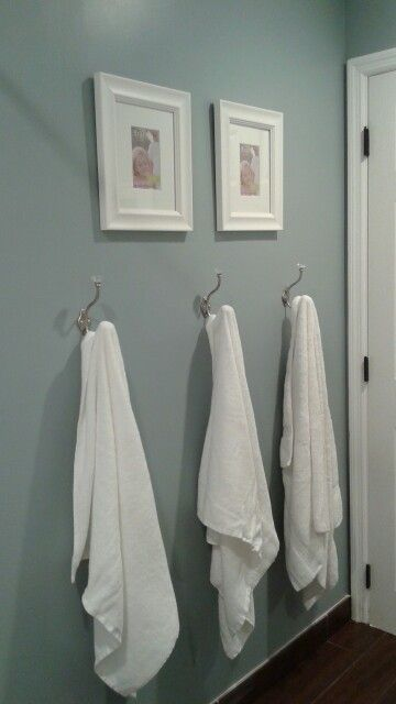 Blue and white guest bathroom. Paint color: Shaded Brook. Hang kid's towel on hooks low enough ...