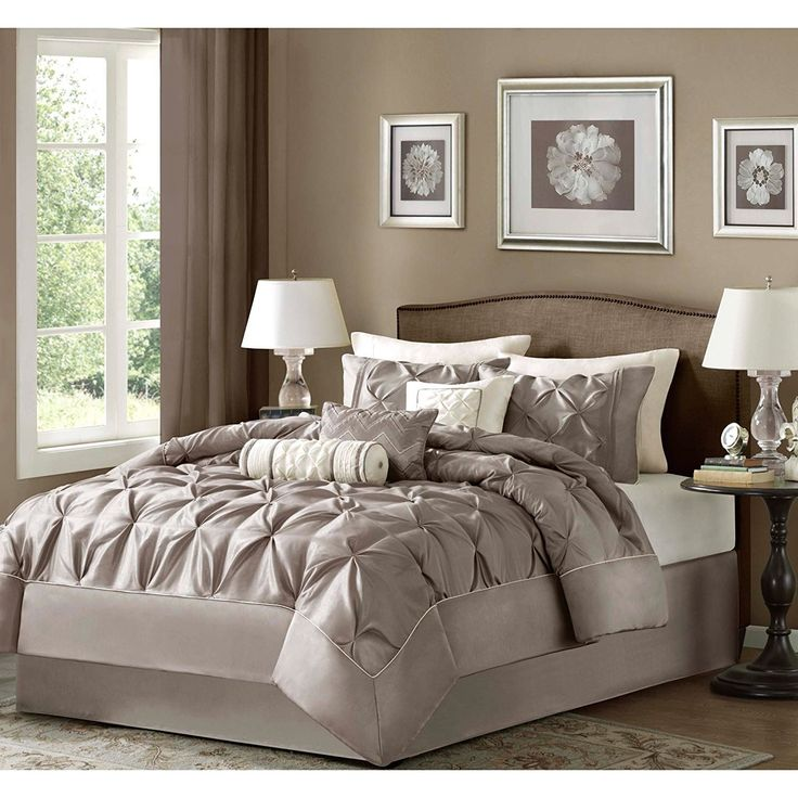 Taupe Puckered Comforter King Set Brown Pintuck Solid Color Adult Bedding Master Bedroom Stylish Textured Tufted Pattern Classic Elegant Themed