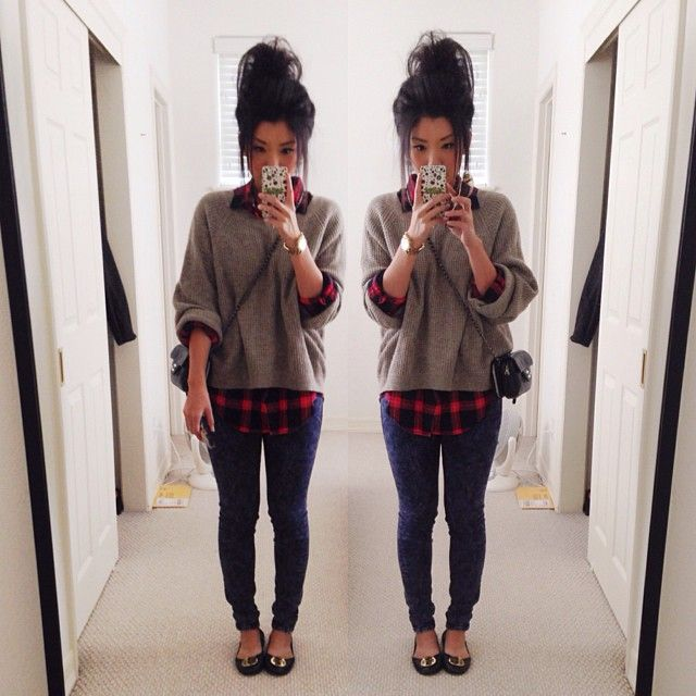 Black and white flannel outfit for Flannel shirt under sweater