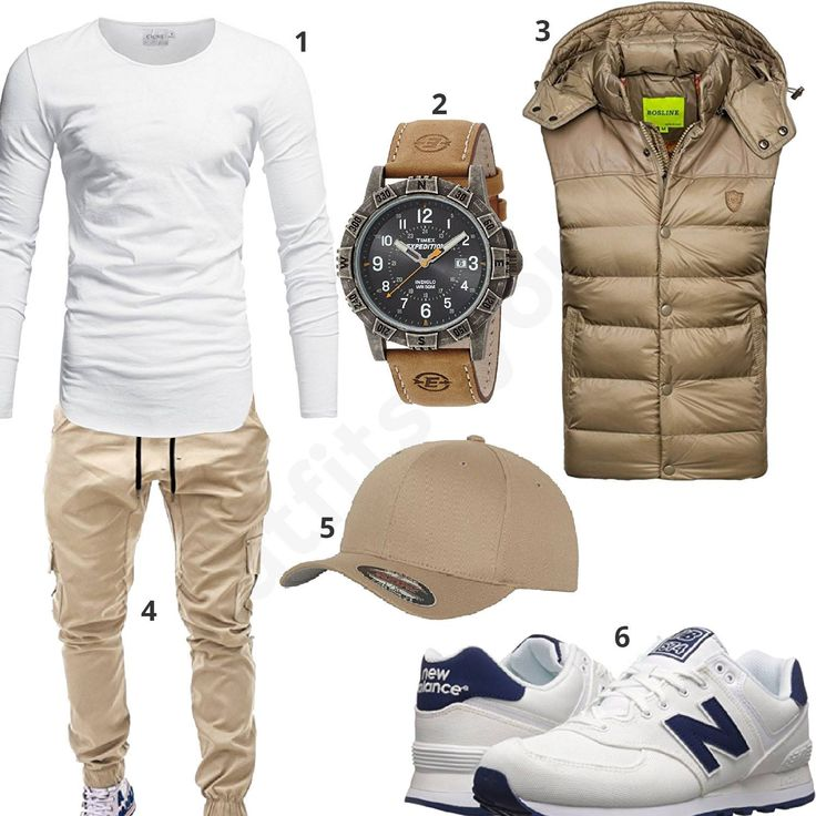 Herren-Style mit weißem Crone Longsleeve, beiger Bolf Weste und Flexfit Cap, Betterstyle Cargo-Pants, Timex Herrenarmbanduhr und New Balance Sneakern.