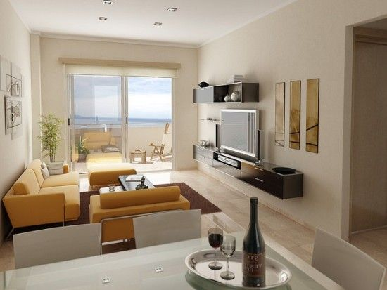 Decoracion de Sala, Comedor y Cocina en un mismo ambiente muebles - sala comedor pequeo