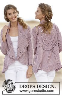 """Crochet DROPS jacket worked in a circle with lace pattern in """"Cotton Viscose"""". Size: S - XXXL. ~ DROPS Design:"""