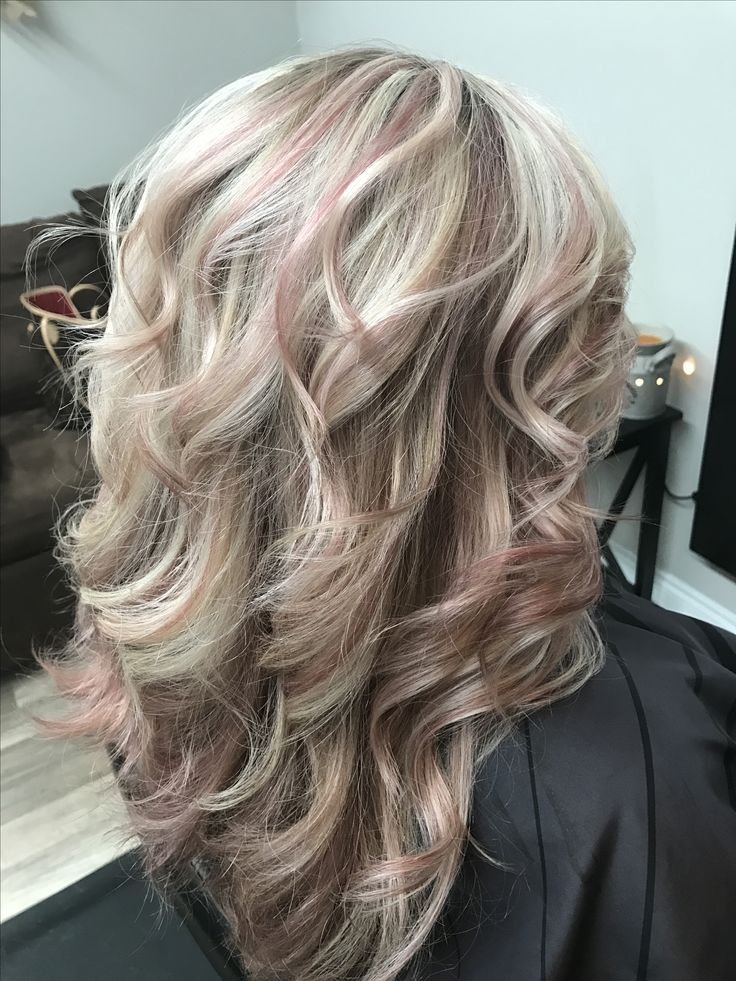 rose gold and a blond platinum highlights hair