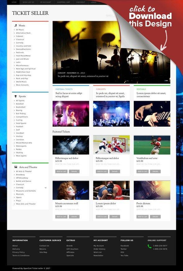 Ticket Seller OpenCart Template E-commerce Templates, OpenCart Templates, Entertainment, Games & Nightlife, Entertainment Templates, Tickets Website Templates