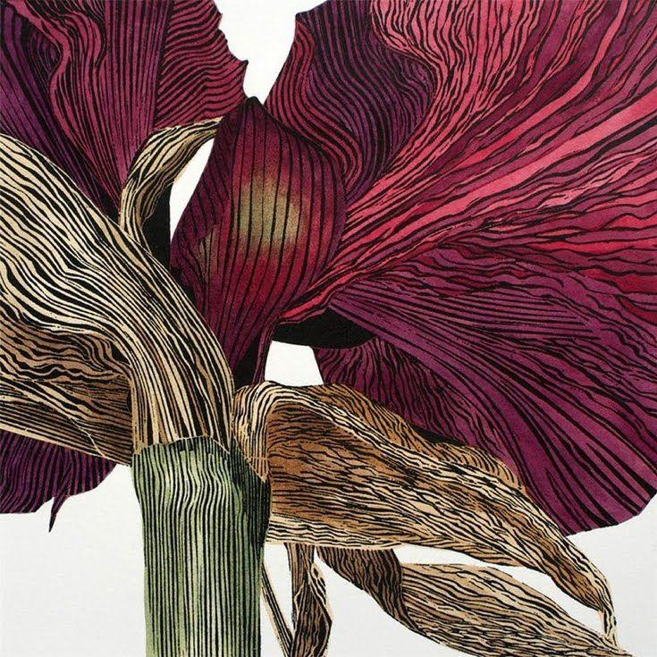 Dark Amaryllis by Irene MacKenzie linocut hand colored