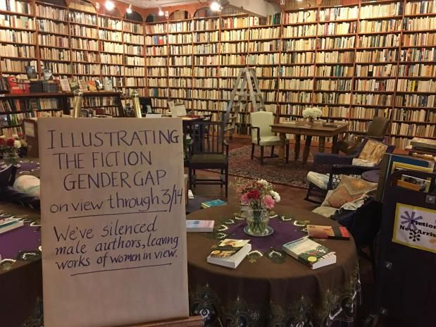 The Women's History Month display is meant to draw attention to female authors and silence 'the male voice.'