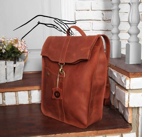 3b2167563 Leather backpack women Brown leather backpack men / Personalized leather  gift bag / 4 colors - Full Grain leather / 15 inch Laptop bag