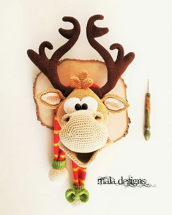 Reindeer head crochet - Without pattern
