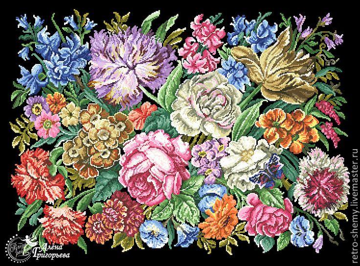 """Купить Схема вышивки """"Цветочная роскошь"""" - схема для вышивки, схема для вышивки крестом, схема вышивки"""