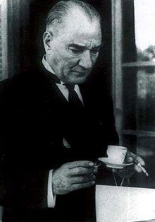 Mustafa Kemal Atatürk during a coffee and smoking break, 1936.