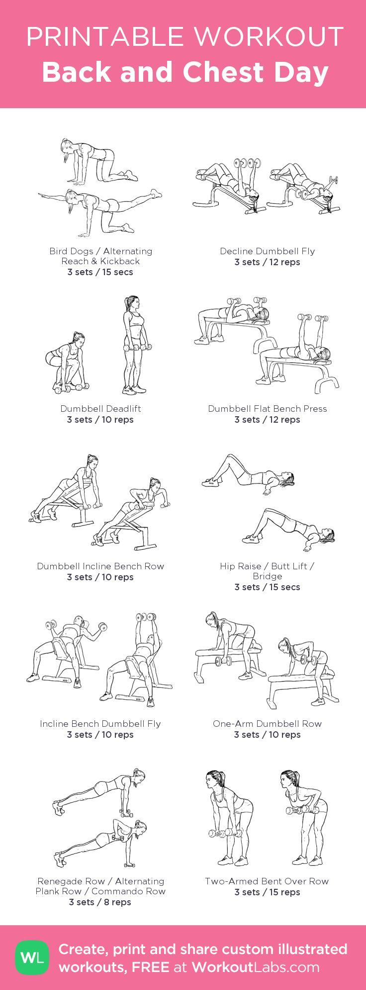 Back and Chest Day:my visual workout created at WorkoutLabs.com • Click through to customize and download as a FREE PDF! #customworkout