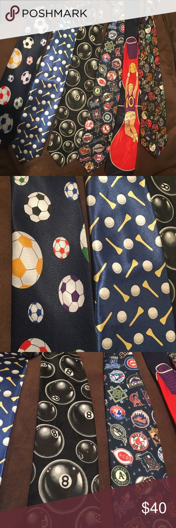 Bundle of ties for the sports buff! Bundle of six ties for the all-sports lover!! Or gift a few ties away! This is a fantastic deal!   Soccer tie - designed by A. Rogers Golf tie - shiny satiny feel Billiards pool tie - made by Addiction  Major League Baseball tie - made by Surrey (1995) Basketball tie - made by Enigma (handmade) National Football League tie - made by NFL Accessories Ties