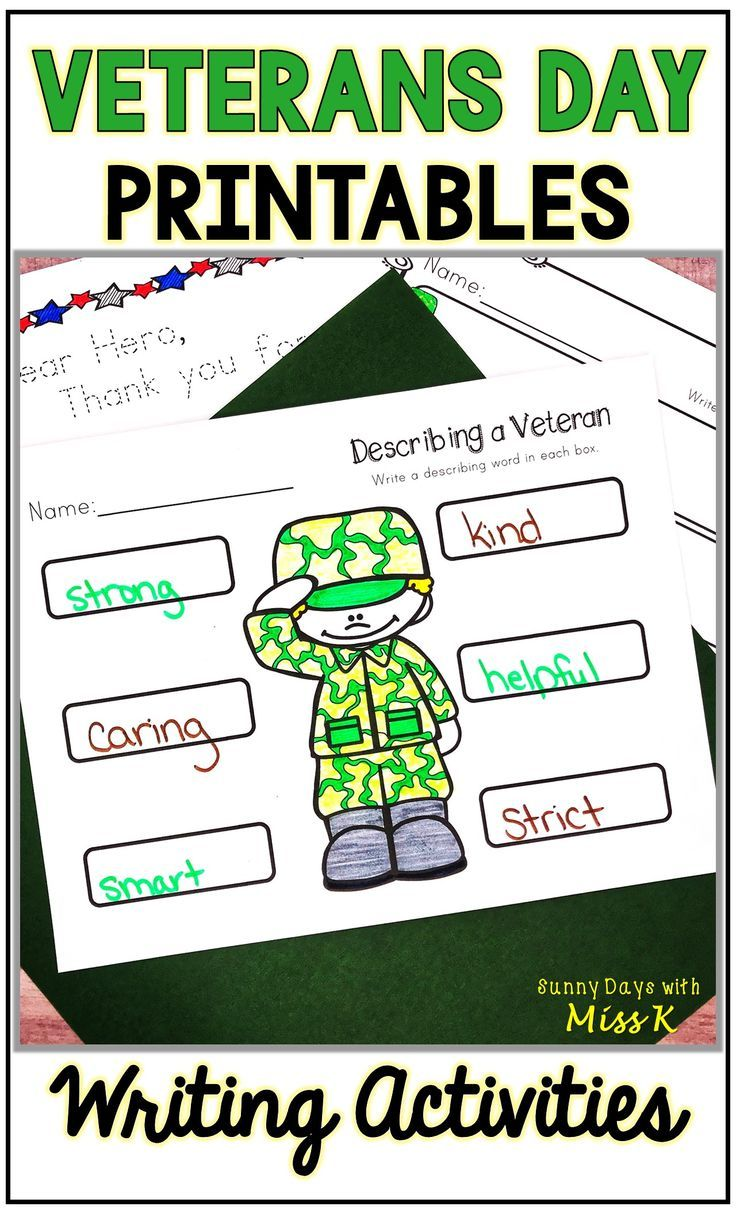 Veteran's Day Activities, Veteran's Day Writing, NO PREP