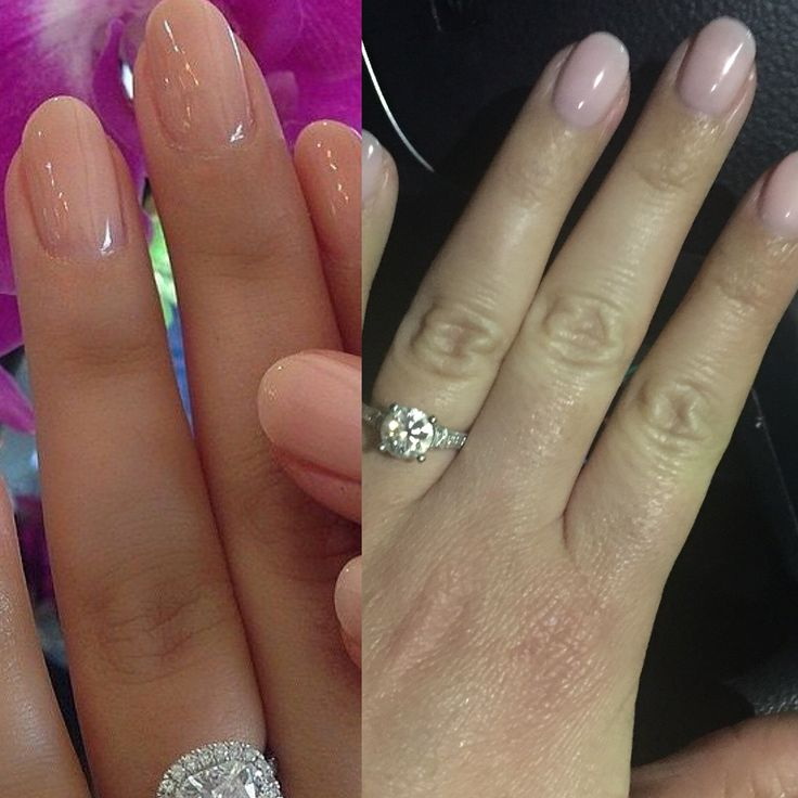 Nude almond shaped nails: OPI bubble bath gel over liquid gel nails