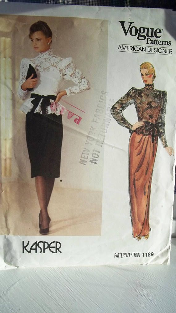 Long Or Short Gown High Fashion Vogue 1189 Designer Kasper Sewing ...