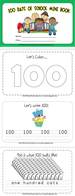 A Teacher's Idea: READING Resources: Here is another mini book to get your kiddos going. It's a great little keepsake for your kids to celebrate 100 days of school. They get to color pictures, write a few words and read also. This resource is appropriate for preK to Grade One.$