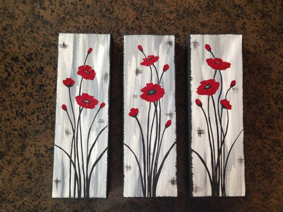 Abstract poppies poppy painting red by Creationsbyconni on Etsy