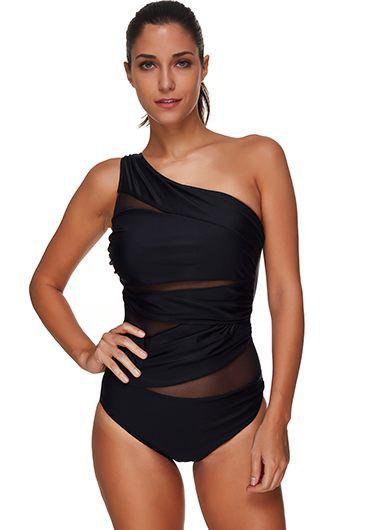 One Shoulder Mesh Panel One Piece Swimwear