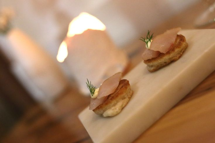 Seafood blinis, Moxhe seafood restaurant, Bronte, Sydney