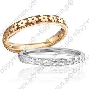 36000 руб Тонкие недорогие обручальные кольца из золота с цветочным орнаментом изготовление на заказ