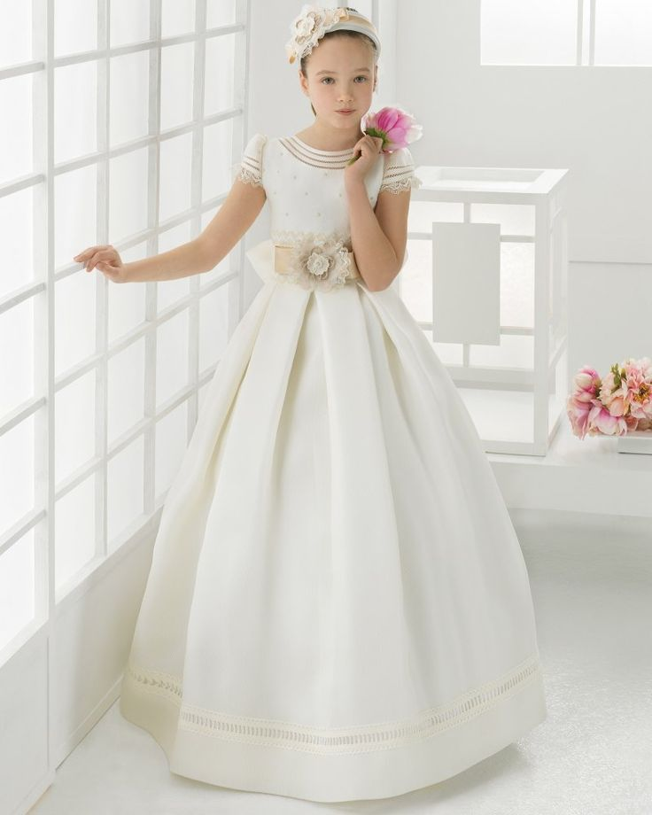 Lace Trims A-Line Beaded Bodice Satin First Communion Dress With Flowers