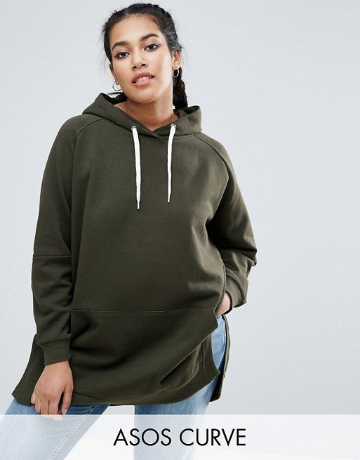 ASOS Curve | ASOS CURVE Hoodie in Oversized Fit with Side Splits