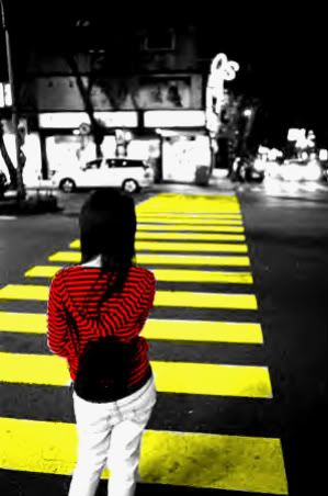 Amazing photography color splash black white and yellow and red crossing a road image by photobucket