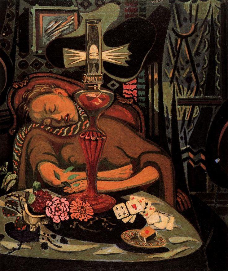 Woman Sleeping 1943, Oil on wood Kriezotou Collection