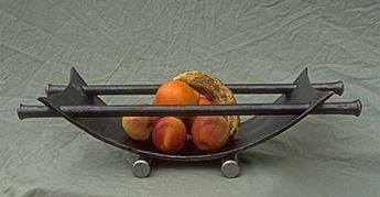 fruit bowl in metal, metal fruit basket, forged steel bowl