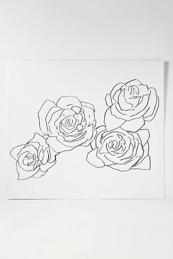 Desert Rose Mural Rose Line Art Floral Prints Art Roses Drawing
