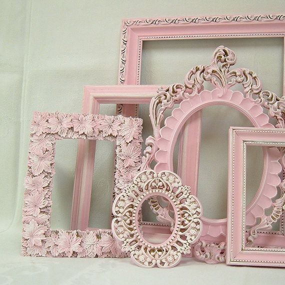Shabby Chic Frames Picture Frame Set Ornate Frames Pink Gallery Wall Decor Pink Wedding Pink Nursery    6 Piece Set - Vintage Upcycled