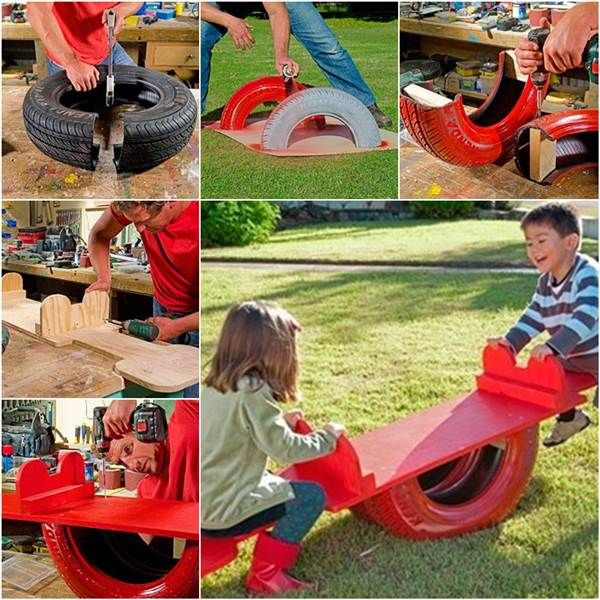 How to Repurpose an Old Tire into a Seesaw DIY Tutorial | iCreativeIdeas.com Like Us on Facebook ==> https://www.facebook.com/icreativeideas