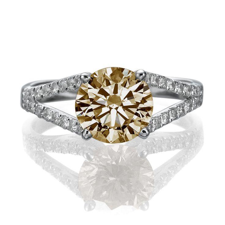 1.63 CT Diamond Engagement Ring Round Fancy Deep Brownish Orange/ 14k White Gold. To Buy Now http://stores.ebay.com/zamir-diamonds