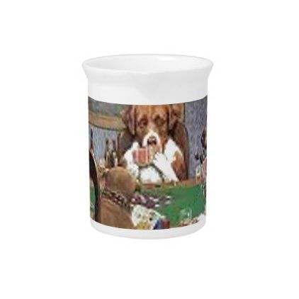 Dogs Playing Poker Drink Pitcher - dog puppy dogs doggy pup hound love pet best friend