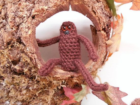 Amigurumi Bigfoot, Baby Bigfoot, Baby Sasquatch, Juvenile Sasquatch, Baby Gorilla, Crochet Bigfoot Toy, Soft Sculpture, Brown, Small Plushie